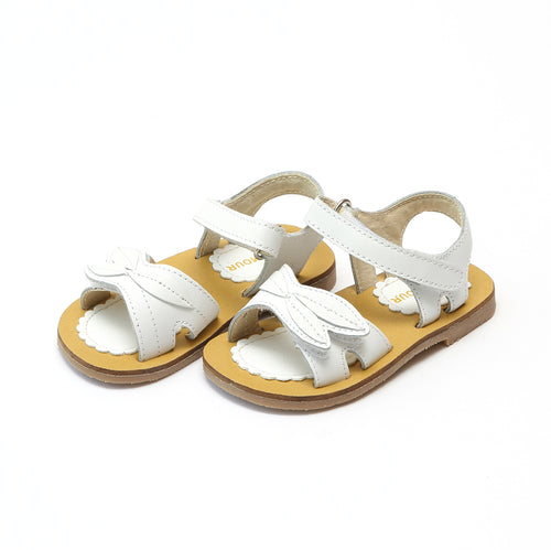 L'Amour Girls Kelby White Leaf Leather Sandal - lamourshoes.com