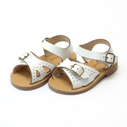 Pippi White Leather Buckle Sandal - L'Amour Shoes