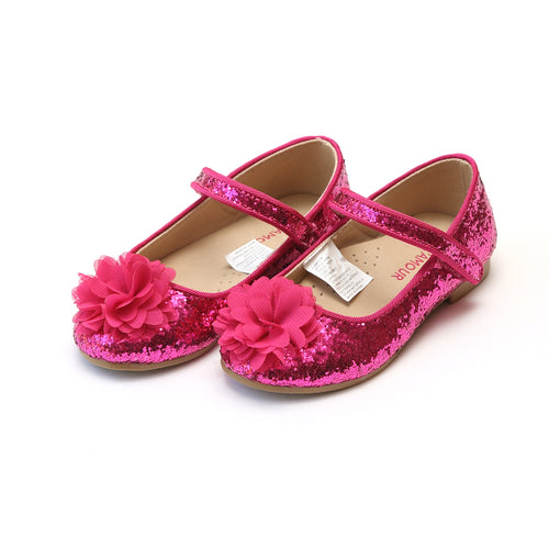 Alice Fuchsia Sparkly Glitter Flower Flat - L'Amour Flats