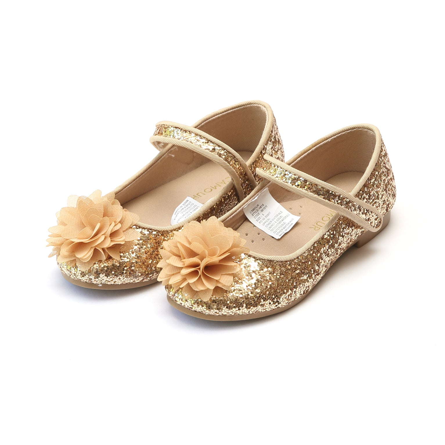 e87b9dfb5e0 Alice Girl s Sparkly Glitter Flower Flat – L Amour Shoes