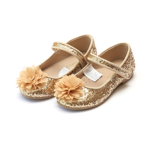 Alice Gold Sparkly Glitter Flower Flat - L'Amour Flats