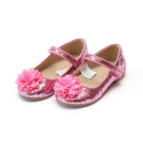 Alice Pink Sparkly Glitter Flower Flat - L'Amour Flats