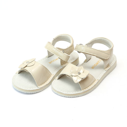 L'Amour Girls Kaylee Patent Cream Stitch Down Open Toe Leather Sandal - Lamourshoes.com