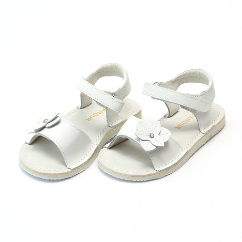 L'Amour Girls Kaylee White Stitch Down Open Toe Leather Sandal - Lamourshoes.com