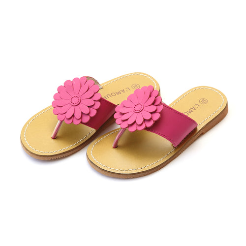 Savannah Fuchsia Leather Double Trouble Flower Thong Sandal - L'Amour Shoes