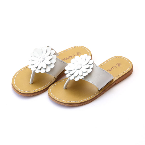 Savannah White Leather Double Trouble Flower Thong Sandal - L'Amour Shoes