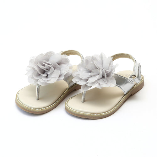 L'Amour Girls Matilda Special Occasion Silver Flower Thong Sandal - lamourshoes.com