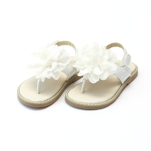 L'Amour Girls Matilda Special Occasion White Flower Thong Sandal - lamourshoes.com