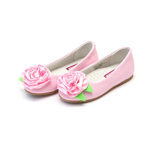 Rosa Pink Leather Ballet Flat with Satin Rose Flower Accent - L'Amour