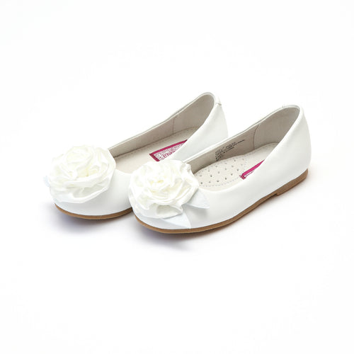 Rosa White Leather Ballet Flat with Satin Rose Flower Accent - L'Amour