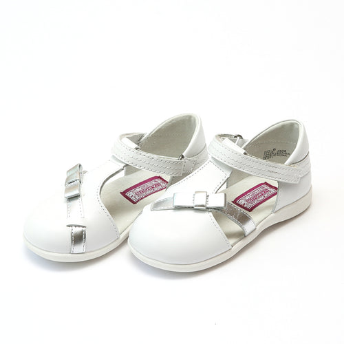 L'Amour Girls Jaclyn Ribbon White Leather Sporty Mary Jane