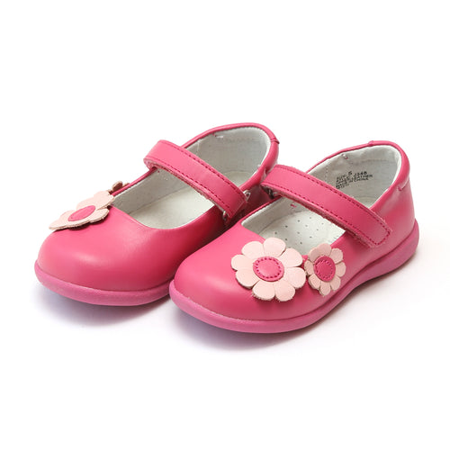 L'Amour Girls Megan Fuchsia Flower Leather Sporty Mary Jane - Lamourshoes.com