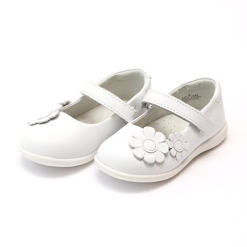 L'Amour Girls Megan White Flower Leather Sporty Mary Jane - Lamourshoes.com
