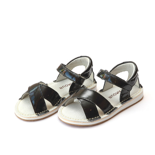 L'Amour Girls Virginia Cross Strap Patent Black Sandal - Lamourshoes.com