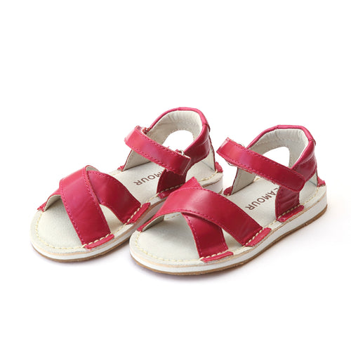 L'Amour Girls Virginia Cross Strap Leather Fuchsia Sandal - Lamourshoes.com
