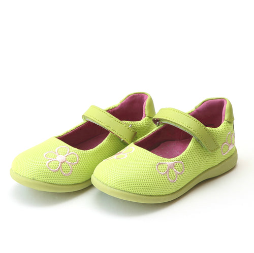 L'Amour Girls Marisa Lime Sporty Mesh Embroidered Flower Mary Jane - Lamourshoes.com