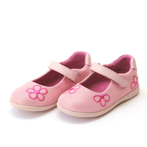 L'Amour Girls Marisa Pink Sporty Mesh Embroidered Flower Mary Jane - Lamourshoes.com