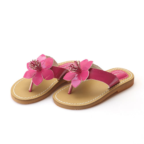 L'Amour Girls Kennedy Patent Fuchsia Flower Thong Sandal - Lamourshoes.com