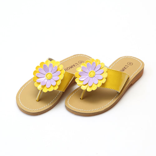 L'Amour Girls Savannah Patent Yellow Flower Thong Sandal - lamourshoes.com
