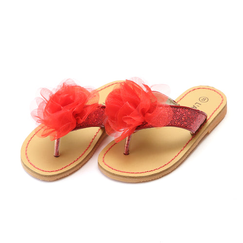 L'Amour Girls Tiana Red Sequin Organza Special Occasion Sandal - Lamourshoes.com