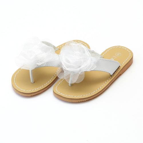 L'Amour Girls Tiana White Sequin Organza Special Occasion Sandal - Lamourshoes.com