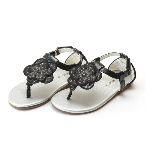 L'Amour Girls Tilda Double Flower Black Glitter Thong Sandal - Lamourshoes.com