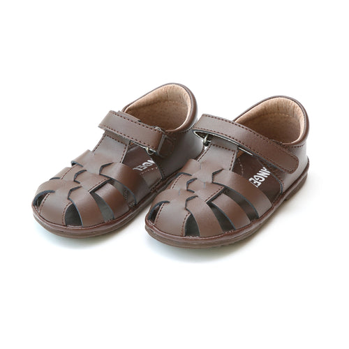 Angel Baby Boys Mack Brown Leather Fisherman Sandal - Lamourshoes.com