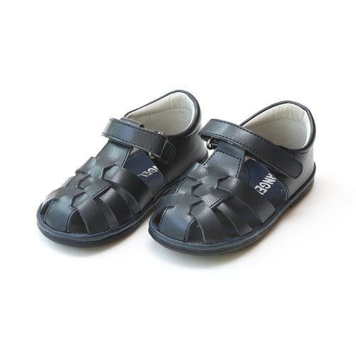 Angel Baby Boys Mack Navy Leather Fisherman Sandal - Lamourshoes.com