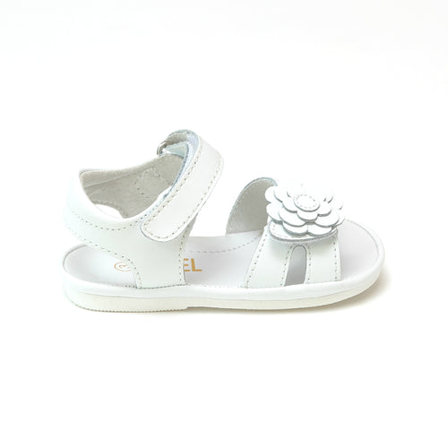 Angel Baby Girls Mila White Flower Cutout Sandal - Lamourshoes.com