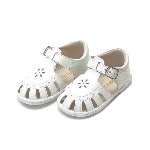 Shelby White Caged Sandal (Baby) - Angel Baby Shoes