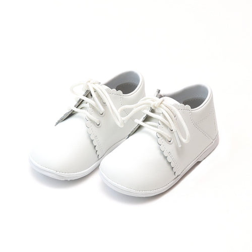 Lacey White Scalloped Leather Lace Up Shoe (Baby) - Angel Baby Shoes
