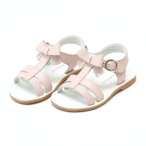 L'Amour Girls Janie Pink Bow Double Strap Open Toe Sandal - Lamourshoes.com