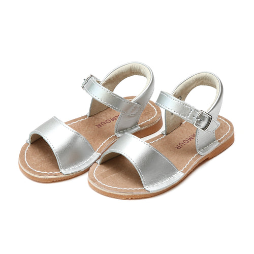 L'Amour Girls Kayla Silver Leather Open Toe Sandal - Lamourshoes.com