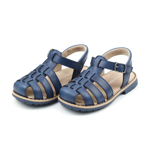 L'Amour Boys  - Emerson Classic Navy Leather Fisherman Sandal