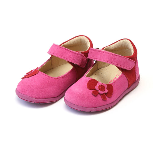 Nicoline Fuchsia Leather Flower Bow Cut Out Sporty Mary Jane - L'Amour Mary Janes