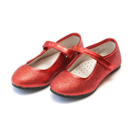 Eloise Red Fine Glitter Special Occasion Almond Shaped Flat - Angel Shoes