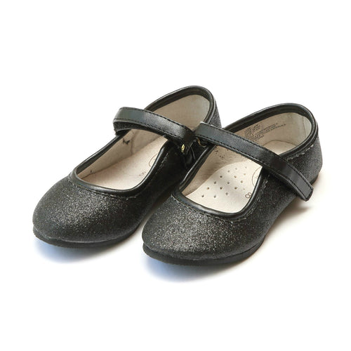 Eloise Black Fine Glitter Special Occasion Almond Shaped Flat - Angel Shoes