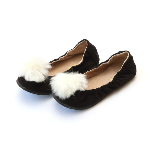 Madeline Pom Pom Black Leather Flat - L'Amour Flats