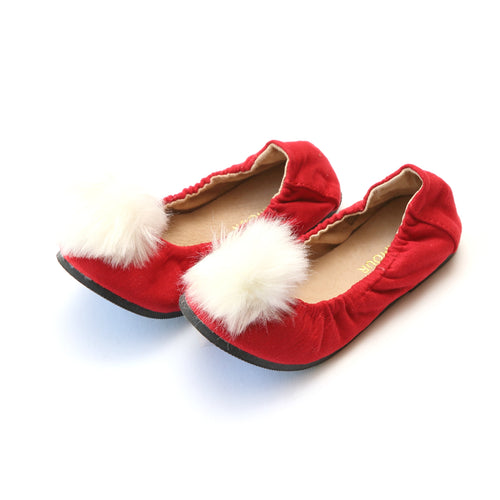 Madeline Pom Pom Red Leather Flat - L'Amour Flats