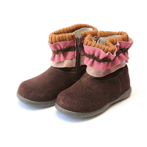 Rita Knit Collar Nubuck Leather Boot - L'Amour Boots