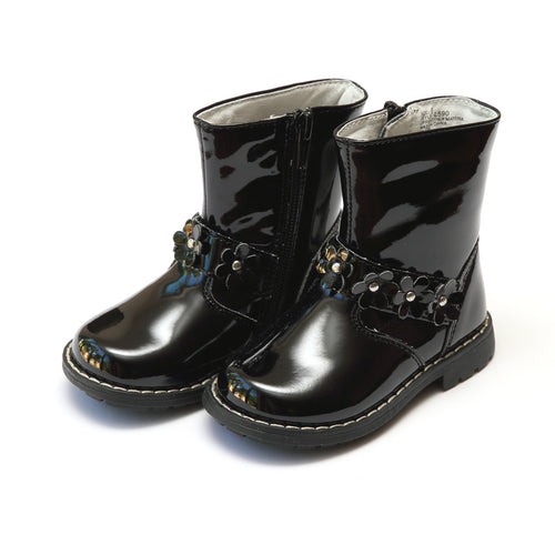 Robin Flower Belted Patent Black Boot - L'Amour Boots