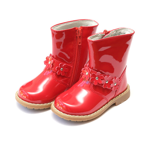 Robin Flower Belted Patent Red Boot - L'Amour Boots