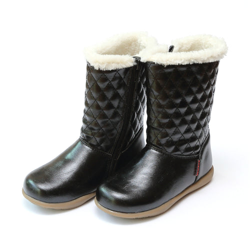 Ebba Quilted Faux Fur Winter Boot - L'Amour Shoes