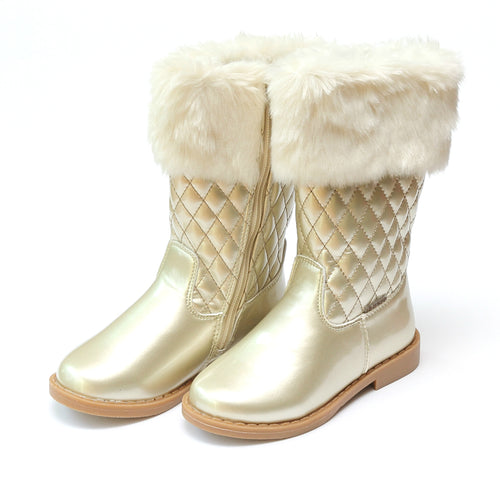 Lina Faux Fur Cuffed Tall Gold Quilted Boot - L'Amour Shoes