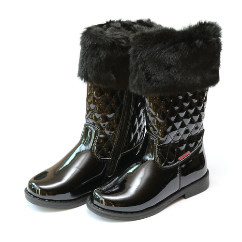 Lina Faux Fur Cuffed Tall Black Quilted Boot - L'Amour Shoes