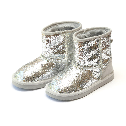 Glinda Girl's Silver Sparkly Glitter Boot - L'Amour Boots