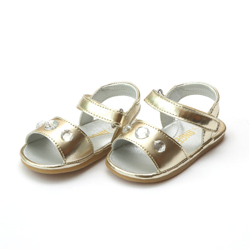 Angel Baby Girls Rudy Gold Jeweled Open Toe Sandal - Lamourshoes.com