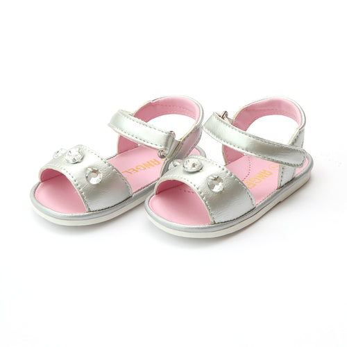 Angel Baby Girls Rudy Silver Jeweled Open Toe Sandal - Lamourshoes.com