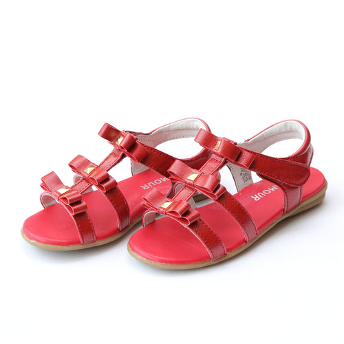 L'Amour Girls Delphine Studded Patent Red Strappy Fashion Sandal - Lamourshoes.com