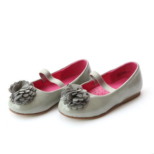 L'Amour Girls Phoebe Gray Pom Pom Flat - Lamourshoes.com